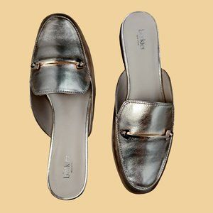 NEW BOTKIER Clare Loafer Mules Gold Leather Size 6